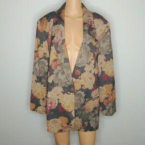 Vtg Floral Wool Gabardine Oversized Blazer